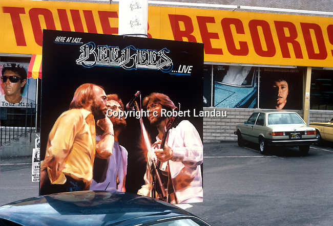 Bee Gees Live Album Cover in fornt of Tower Records on the Sunset Strip circa 1977