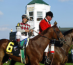 Funny Cide, Jose Santos up, 2003 Kentucky Derby (Barclay Tagg trainer, Sackatoga Stable owners)