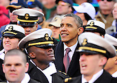 United States President Barack Obama watches the 112th meeting of the United States Army Black Knights and the U.S. Navy Midshipmen on the Navy side of the field at FedEx Field in Landover, Maryland on Saturday, December 10, 2011..Credit: Ron Sachs / CNP