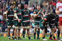 Dominic Ryan of Leicester Tigers rallies his fellow forwards at a scrum. Aviva Premiership match, between Leicester Tigers and Gloucester Rugby on September 16, 2017 at Welford Road in Leicester, England. Photo by: Patrick Khachfe / JMP