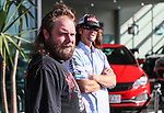 """Daniel McNicholl waits to have his mullet chopped as Holden Ambassador Greg Murphy (in disguise) stands in the background. Holden New Zealand, """"Mullet Amnesty Day"""", trade your mullet for a Holden Astra, West City Holden, Auckland, New Zealand, Saturday 1st April 2017. Photo: Simon Watts/www.bwmedia.co.nz"""