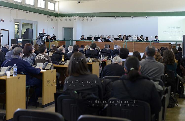 Roma, 19 Dicembre 2012.Aule bunker di Rebibbia.L'aula durante le deposizioni e dichiarazioni dei periti