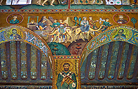Medieval Byzantine style mosaics of the Bible story of Rebecca watering the vcamels, Palatine Chapel, Cappella Palatina, Palermo, Italy