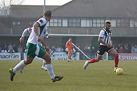 Nathan Arnold of Grimsby Town on the attack during the FA Trophy Semi Final first leg match between Bognor Regis and Grimsby Town at Nyewood Lane, Bognor Regis, England on 12 March 2016. Photo by Paul Paxford/PRiME Media Images.