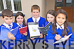 WRITING: Pupils from St Teresa's national school in Kilflynn who won a host of art, spelling and writing competitions recently, l-r: Killian Baker (Community Games Art), Aoibhe McKenna (Community Games Handwriting), Darragh O'Donoghue (County Spelling Bee), Ciara Rohan (ESB/INTO Handwriting), Orla Mahony (ESB/INTO Handwriting).