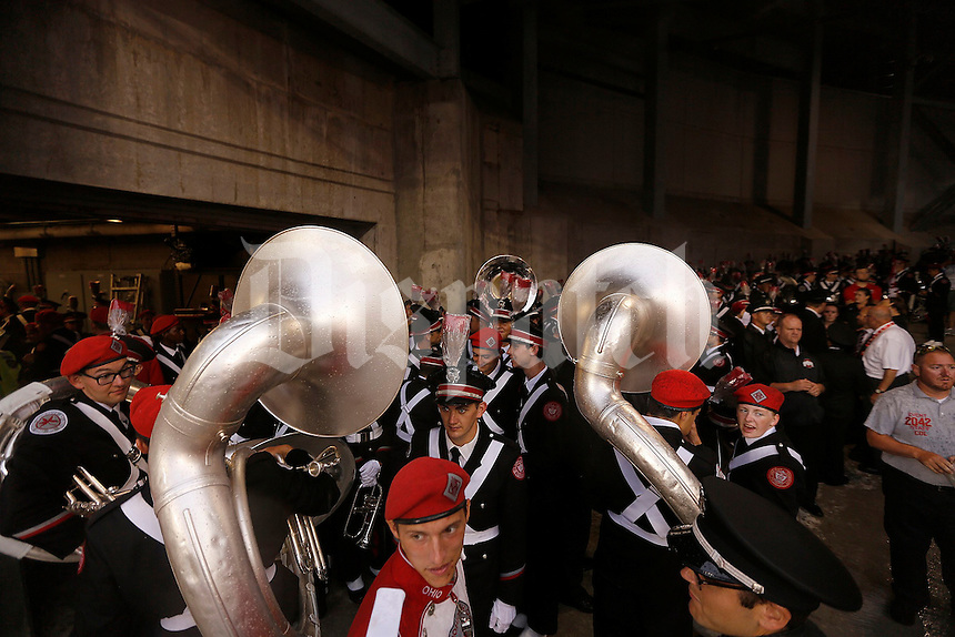 The Ohio State Marching band stayed on the ramp as a thunderstorm prevented them from taking the field at halftime during the NCAA football game between the Ohio State Buckeyes and the Tulsa Golden Hurricane at Ohio Stadium on Saturday, September 10, 2016. (Columbus Dispatch photo by Jonathan Quilter)
