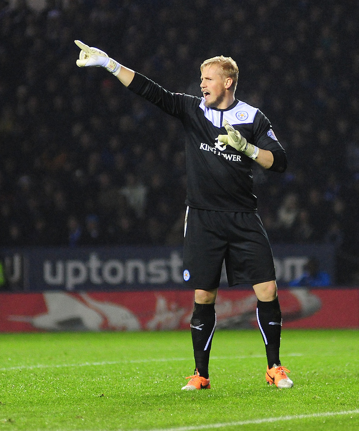 Leicester City's Kasper Schmeichel in action during todays match  <br /> <br /> Photo by Chris Vaughan/CameraSport<br /> <br /> Football - Capital One Cup Capital One Cup Quarter-Final - Leicester City v Manchester City - Tuesday 17th December 2013 - King Power Stadium - Leicester<br />  <br /> &copy; CameraSport - 43 Linden Ave. Countesthorpe. Leicester. England. LE8 5PG - Tel: +44 (0) 116 277 4147 - admin@camerasport.com - www.camerasport.com