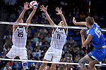 LOS ANGELES - MAY 5:  Nick Amado #25 and TJ DeFalco #11 of the Long Beach State 49ers defend against the spike by Jake Arnitz #15 of the UCLA Bruins during the Division 1 Men's Volleyball Championship on May 5, 2018 at Pauley Pavilion in Los Angeles, California. The Long Beach State 49ers defeated the UCLA Bruins 3-2. (Photo by John W. McDonough/NCAA Photos via Getty Images)