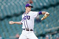 Texas Christian Horned Frogs relief pitcher Trey Teakell #40 in action against the Sam Houston State Bearkats at Minute Maid Park on February 28, 2014 in Houston, Texas.  The Bearkats defeated the Horned Frogs 9-4.  (Brian Westerholt/Four Seam Images)