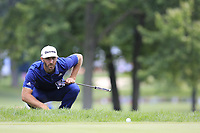 Dustin Johnson (USA) lines up his putt on the 2nd green during Sunday's Final Round of the WGC Bridgestone Invitational 2017 held at Firestone Country Club, Akron, USA. 6th August 2017.<br /> Picture: Eoin Clarke | Golffile<br /> <br /> <br /> All photos usage must carry mandatory copyright credit (&copy; Golffile | Eoin Clarke)