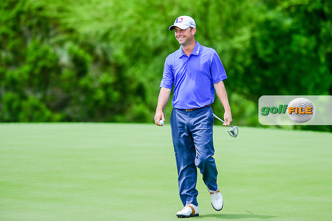 Spencer Levin (USA) reacts after sinking a putt on 2 during the round 1 of  the Valero Texas Open, JW Marriott TPC San Antonio, Texas, USA. 4/21/2016.<br /> Picture: Golffile | Ken Murray<br /> <br /> <br /> All photo usage must carry mandatory copyright credit (&copy; Golffile | Ken Murray)