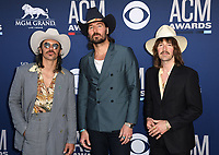 LAS VEGAS, NEVADA - APRIL 07: Mark Wystrach, Cameron Duddy and Jess Carson of Midland attends the 54th Academy Of Country Music Awards at MGM Grand Hotel &amp; Casino on April 07, 2019 in Las Vegas, Nevada. <br /> CAP/MPIIS<br /> &copy;MPIIS/Capital Pictures