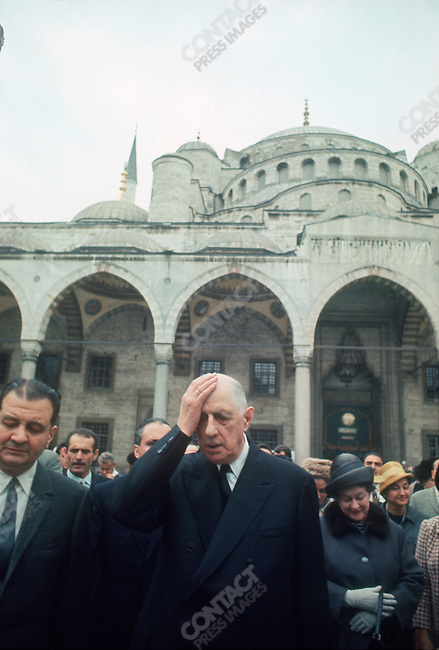 French President Charles de Gaulle with his wife Yvonne, at the Blue Mosque, during his state visit, Istanbul, Turkey, October 28, 1968