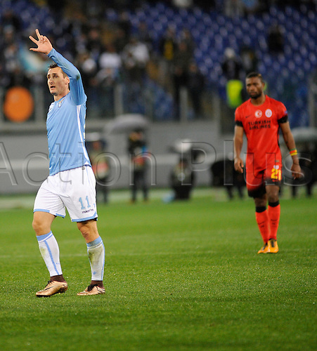 25.02.2016. Stadio Olimpico, Rome, Italy. Uefa Europa League, Return leg of SS Lazio versus Galatasaray. Goal celebrations from Miroslav Klose