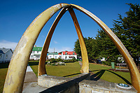 Park arches made from blue whale lower jawbones (mandibles) Balaenoptera musculus, Port Stanley on East Falkland Island in the Falkland Islands, British Overseas Territories, United Kingdom, South Atlantic.