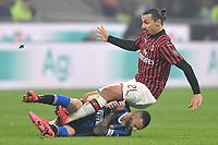Marcelo Brozovic of FC Internazionale , Zlatan Ibrahimovic of AC Milan  <br /> Milano 09/02/2020 Stadio San Siro <br /> Football Serie A 2019/2020 <br /> FC Internazionale - AC Milan <br /> Photo Andrea Staccioli / Insidefoto
