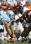 09 September 2006: North Carolina center Scott Lenahan (64) is ready to snap the ball. The University of North Carolina Tarheels lost 35-10 to the Virginia Tech Hokies at Kenan Stadium in Chapel Hill, North Carolina in an Atlantic Coast Conference NCAA Division I College Football game.