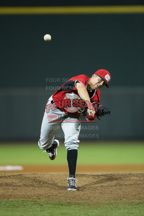 Carolina Mudcats relief pitcher Bradley Roney (9) in action against the Winston-Salem Dash at BB&T Ballpark on July 23, 2015 in Winston-Salem, North Carolina.  The Dash defeated the Mudcats 3-2.  (Brian Westerholt/Four Seam Images)