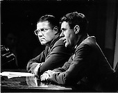 Washington, DC - July 6, 2009 -- Former United States Secretary of Defense Robert S. McNamara, Architect of Vietnam War, died in his sleep at his home in Washington in the early morning of Monday, July 6, 2009. McNamara, who served as Secretary of Defense under Presidents Kennedy and Johnson, was 93.  This file photo dated April 3, 1967 pictures McNamara, left, and Secretary of the Army Cyrus Vance answering reporters questions during a Pentagon news conference..Credit: Arnie Sachs / CNP