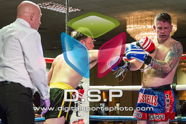 Richard Keeler VS Gareth Russell. Photo by: Stephen Smith<br /> <br /> Warrior Fight Nights 9 - Saturday 2nd April 2016. The Carrington House Hotel, Bournemouth, Dorset, United Kingdom.