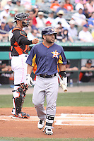 Houston Astros second baseman Jose Altuve (27) walking toward the dugout at a game against the Miami Marlins during a spring training game at the Roger Dean Complex in Jupiter, Florida on March 12, 2013. Houston defeated Miami 9-4. (Stacy Jo Grant/Four Seam Images)........
