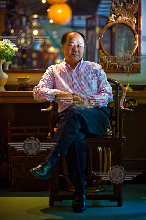 Chinese author Mo Yan (real name Guan Moye) at his favourite tea house in Beijing. He was awarded the 2012 Nobel Prize in Literature.