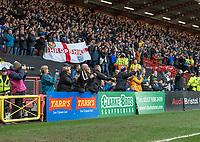 Leeds United fans applaud the team at the final whistle <br /> <br /> Photographer David Horton/CameraSport<br /> <br /> The EFL Sky Bet Championship - Bristol City v Leeds United - Saturday 9th March 2019 - Ashton Gate Stadium - Bristol<br /> <br /> World Copyright © 2019 CameraSport. All rights reserved. 43 Linden Ave. Countesthorpe. Leicester. England. LE8 5PG - Tel: +44 (0) 116 277 4147 - admin@camerasport.com - www.camerasport.com