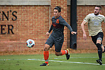 Kristo Strickler (15) of the Virginia Tech Hokies chases after a loose ball in front of Sam Raben (26) of the Wake Forest Demon Deacons during first half action at Spry Soccer Stadium on November 5, 2017 in Winston-Salem, North Carolina.  The Demon Deacons defeated the Hokies 3-0.  (Brian Westerholt/Sports On Film)