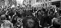 The stand off before the protesters charged the police lines at the entrance to Grosvenor Square.   Anti-Vietnam war demonstration march from Trafalgar Sq to Grosvenor Sq Sunday 17th March 1968.