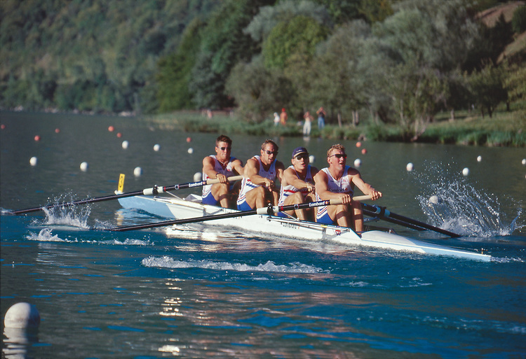 Rowing, Great Britain Rowing, men's coxless four, FISA World Rowing Championships, Lac Aiguebelette, France, Europe, 1997, From bow: James Cracknell, Stephen Redgrave, Tim Foster, Matthew Pinsent, world champions,.