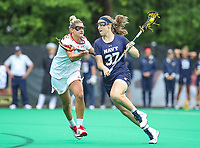 College Park, MD - May 19, 2018: Navy Nicole Victory (37) attempts a shot during the quarterfinal game between Navy and Maryland at  Field Hockey and Lacrosse Complex in College Park, MD.  (Photo by Elliott Brown/Media Images International)