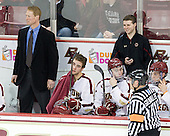 Greg Brown (BC - Assistant Coach), Isaac MacLeod (BC - 7), Michael Sit (BC - 18), Chris Malloy (BC - Manager), John Gravalles, Danny Linell (BC - 10) - The Boston College Eagles defeated the University of Massachusetts-Amherst Minutemen 3-2 to take their Hockey East Quarterfinal matchup in two games on Saturday, March 10, 2012, at Kelley Rink in Conte Forum in Chestnut Hill, Massachusetts.