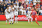 Gabriel Torres (9, Francisco Palacios (2), and Jose Fajardo (17) of Panama leap and block a penalty kick on goal by Djordje Mihailovic (20) of the United States during their Gold Cup match on June 26, 2019 at Children's Mercy Park in Kansas City, KS.<br /> Tim VIZER/AFP