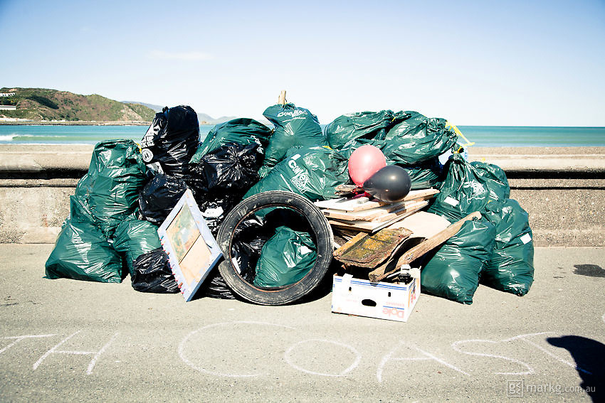 The 2010 Wellington South Coast Cleanup Day was held on the 25th September as part of the International Coastal Cleanup Day. Hundreds of volunteers from the Wellington region scoured the south coast, picking up & collectiing rubbish from Owhiro Bay to Breaker Bay.