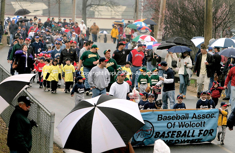 WOLCOTT, CT- 30 APRIL 2005-043005JS03--Teams and coaches march in a parade from Frisbee School to the BAW baseball complex in Wolcott during opening day ceremonies for the Baseball Association of Wolcott 2005 season on Saturday   --- Jim Shannon Photo-- are CQ