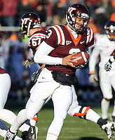 Nov 27, 2010; Charlottesville, VA, USA;  Virginia Tech Hokies quarterback Logan Thomas (3) during the game at Lane Stadium. Virginia Tech won 37-7. Mandatory Credit: Andrew Shurtleff