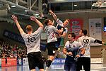 09.11.2019, Hansehalle Luebeck, GER,  2.Bundesliga Handball VfL Luebeck-Schwartau - TV Emsdetten<br /> <br /> im Bild / picture shows<br /> Mex Raguse VfL Luebeck-Schwartau im Sprungwurf ueber Johannes Wasielewski (TV Emsdetten), Sven Wesseling (TV Emsdetten), Markus Hansen VfL Luebeck-Schwartau und Jan Mojzis (TV Emsdetten)<br /> <br /> Foto © nordphoto / Tauchnitz