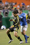 SEP 15  2007:  Number 10s battle for the ball.  Alejandro Moreno (10)(l) of the Crew and Carlos Marinelli (10)(r) of the Wizards.  ..The MLS Kansas City Wizards defeated the visiting Columbus Crew 3-2 at Arrowhead Stadium in Kansas City, Missouri, in a regular season league soccer match.