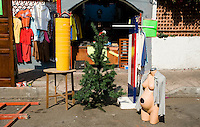A pregnant manequin and a Christmas tree outside a store. Street photography in San Miguel Chapultepece, Mexico City