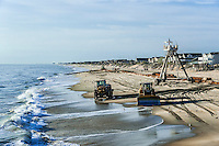 Rebuilding eroded beaches, Nags Head, Outer Banks, North Carolina, USA