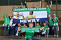 TO GO WITH STORY BY HENRY MCDONALD NORTHERN IRELAND & REPUBLIC OF IRELAND SOCCER FANS:  Newry's Northern Ireland soccer fans - Newry man Ally McKenzie poses with his fellow Newry supporters with their new banner which they will be taking along for the UEFA Euros 2016 next month in France.  Photo/Paul McErlane