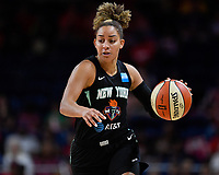Washington, DC - August 25, 2019: New York Liberty guard Bria Hartley (14) brings the ball up court during first half action of game between the New York Liberty and the Washington Mystics at the Entertainment and Sports Arena in Washington, DC. The Mystics defeated New York 101-72. (Photo by Phil Peters/Media Images International)