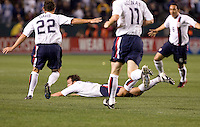 19 January 2008:  Brad Davis, Pat Noonan and Ramiro Corrales run to celebrate with Eddie Robinson after he scored the first goal of the United States National Team's game against Sweden at the Home Depot Center in Carson, California.  US defeated Sweden 2-0.