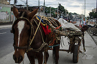 Rio de Janeiro-Rj 26/05/2014-OBRAS  BRT -Homem anda de carroca pelo trecho onde vai passar o BRT , na Rua Candido Benicio ,proximo a Praca Seca ,Zona Oeste ,nessa tarde de segunda feira . Foto-Tércio Teixeira /Brazil Photo Press