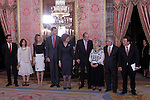 Spanish Royals attend the lunch in ocassion of the '2013 Cervantes Award' at the Royal Palace on April 22, 2014 in Madrid, Spain. (Jose Luis Cuesta/Pool/Alterphotos)