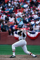 SAN FRANCISCO, CA - Matt Williams of the San Francisco Giants bats during a turn back the clock game against the Chicago Cubs at Candlestick Park in San Francisco, California in 1991. Photo by Brad Mangin