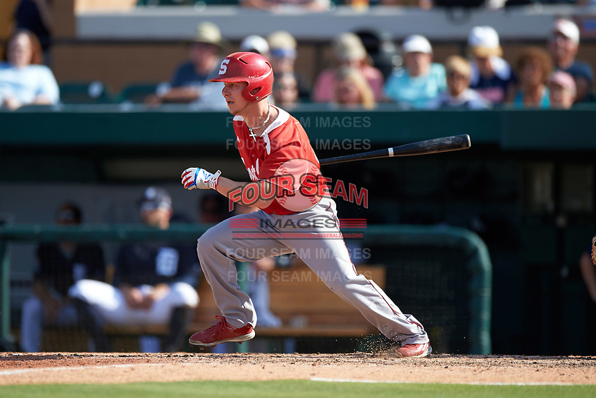 Florida Southern Moccasins pinch hitter Vincent Leto (41) at bat during an exhibition game against the Detroit Tigers on February 29, 2016 at Joker Marchant Stadium in Lakeland, Florida.  Detroit defeated Florida Southern 7-2.  (Mike Janes/Four Seam Images)
