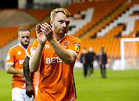 Blackpool's Chris Taylor applauds the fans after the match<br /> <br /> Photographer Alex Dodd/CameraSport<br /> <br /> The EFL Checkatrade Trophy Northern Group C - Blackpool v West Bromwich Albion U21 - Tuesday 9th October 2018 - Bloomfield Road - Blackpool<br />  <br /> World Copyright &copy; 2018 CameraSport. All rights reserved. 43 Linden Ave. Countesthorpe. Leicester. England. LE8 5PG - Tel: +44 (0) 116 277 4147 - admin@camerasport.com - www.camerasport.com