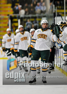 2 December 2011: University of Vermont Catamount forward Connor Brickley, a Sophomore from Everett, MA, leads the line to celebrate a first period goal against the University of Maine Black Bears at Gutterson Fieldhouse in Burlington, Vermont. The Catamounts fell to the Black Bears 6-4 in the first game of their 2-game Hockey East weekend series. Mandatory Credit: Ed Wolfstein Photo