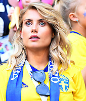 SAMARA - RUSIA, 07-07-2018: Hinchas de Suecia durante partido de cuartos de final entre Suecia y Inglaterra por la Copa Mundial de la FIFA Rusia 2018 jugado en el estadio Samara Arena en Samara, Rusia. / Fans of Sweden during the match between Sweden and England of quarter final for the FIFA World Cup Russia 2018 played at Samara Arena stadium in Samara, Russia. Photo: VizzorImage / Julian Medina / Cont